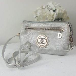 Silver Grey multi pocket and zippered Clutch purse